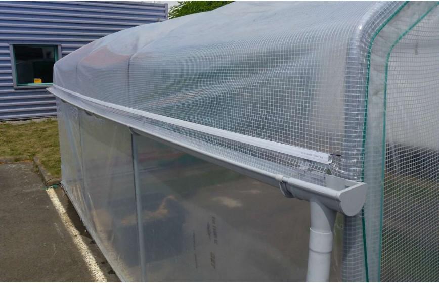 Kit récupération d'eau de pluie -1 longueur- serre Abri légumes Long. 10m00