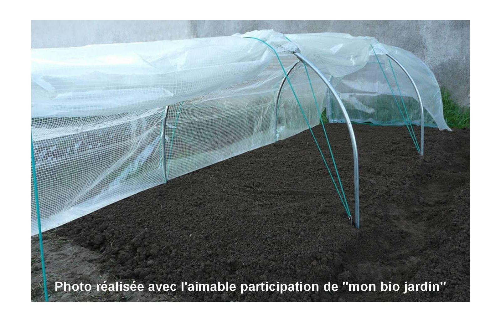 Serre chenille 1m30 x 5m00 serres tonneau - Film plastique anti uv pour serre de jardin ...